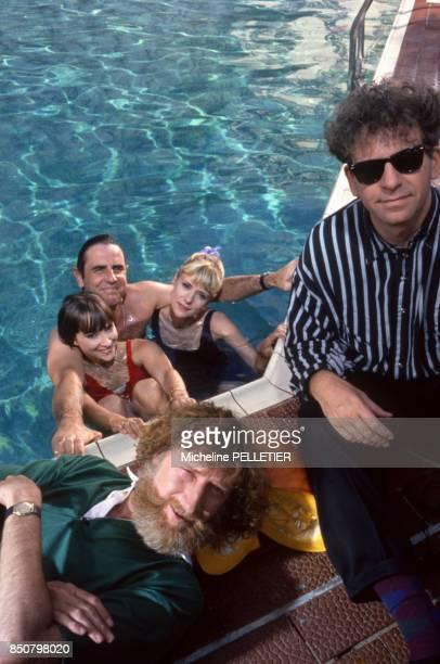 François Corbier Dorothée Patrick SimpsonJones Jacky et Ariane Carletti en vacances le 17 juin 1988 à La Baule France