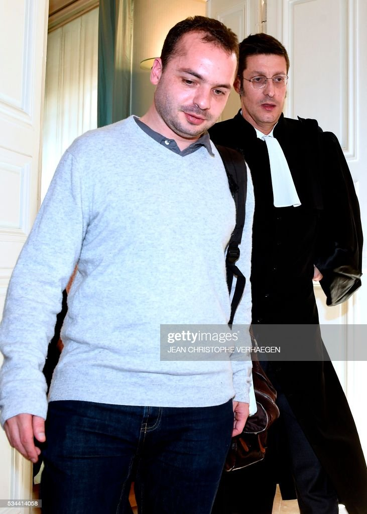 François Lambert (L), the nephew of a 38-year-old quadriplegic Vincent Lambert who is being kept artificially alive and his lawyer Bruno Lorit (R), leave the appeal trial at the administrative court of Nancy on May 26, 2016. The administrative court examines on May 26, 2016 the request of his nephew to end artificial life support for his uncle Vincent Lambert who is at the CHU of Reims. Lambert suffers from irreversible brain damage and is in a chronic vegetative state since a road accident in 2008. While his wife, nephew and doctors approve a 'passive' form of euthanasia and the withdrawal of artificial life support, Lambert's parents have refused to accept it and have fought several legal battles to keep their son on life support. / AFP / Jean Christophe VERHAEGEN
