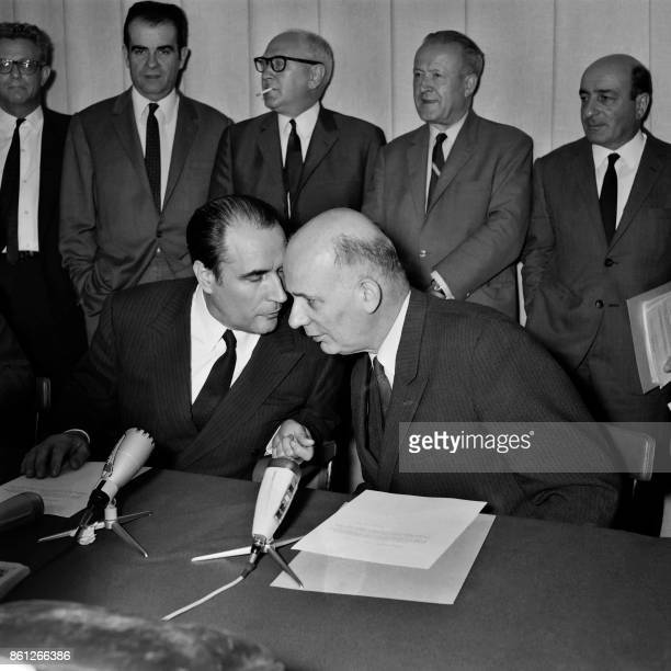 François Mitterrand leader of the French Fédération de la Gauche talks to Waldeck Rochet leader of the French Communist Party on June 02 in Paris...