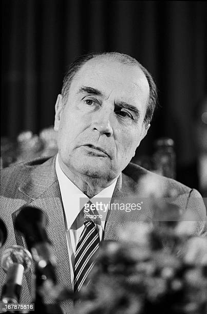 François Mitterrand President of France at a press conference in Vienna 1982 Photograph by Nora Schuster Der französische Staatspräsident François...