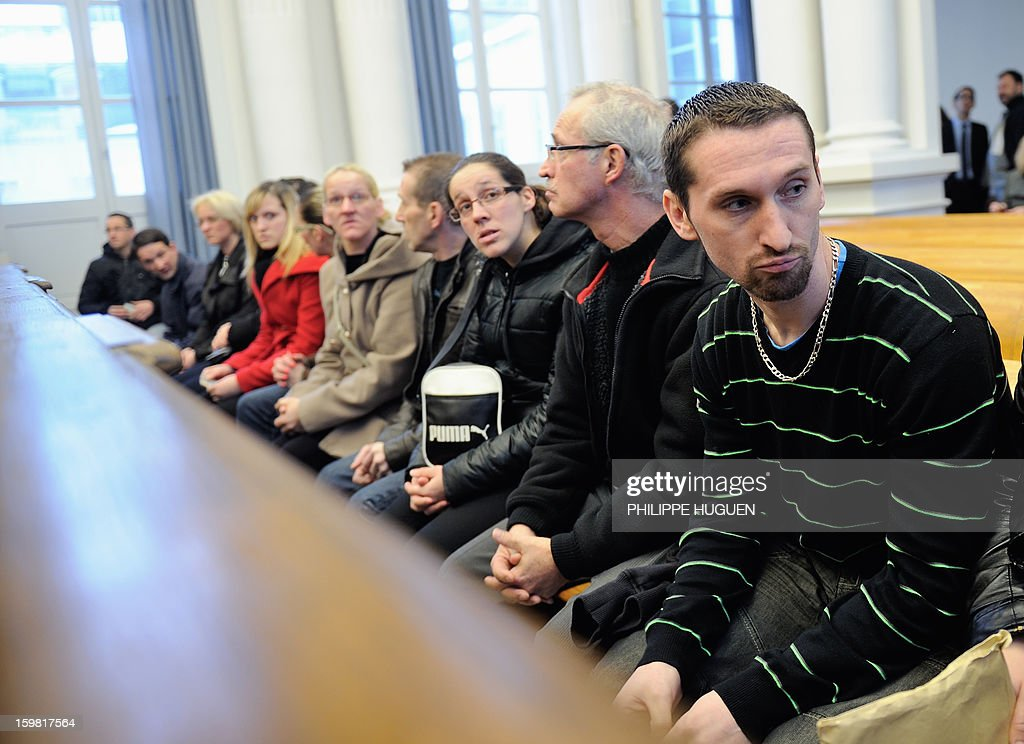 François Taton, father of 4-year old Typhaine, waits at the Douai courthouse, northern France, on January 21, 2013 before the trial of the mother and stepfather of the child, Anne-Sophie Faucheur a...