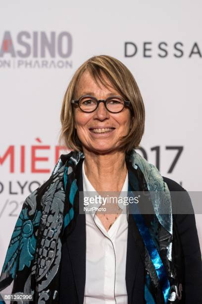 Françoise Nyssen minister of culture poses in front of the photographers when she arrives at 9th Film Festival Lumiere In Lyon on October 14 2017 in...