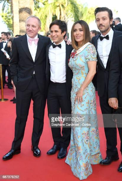 FrançoisHenri Pinault Gael García Bernal Salma Hayek and Diego Luna attend the 70th Anniversary of the 70th annual Cannes Film Festival at Palais des...