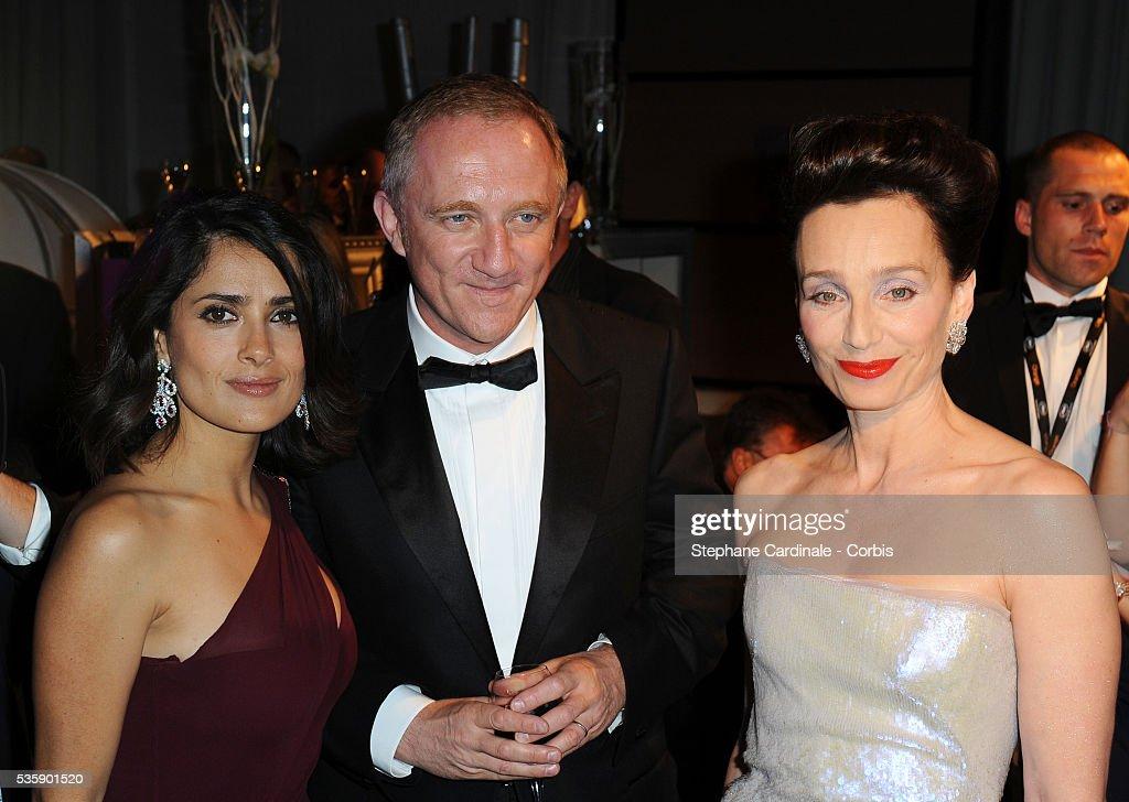 François-Henri Pinault, Salma Hayek and Kristin Scott Thomas at the Opening Dinner during the 63rd Cannes International Film Festival.