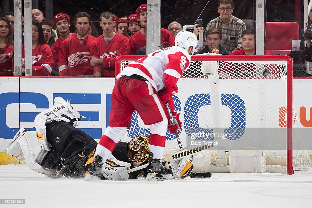 Frans Nielsen #51 of the Detroit Red Wings scores a game winning shoot-out goal on Tuukka Rask #40 of the Boston Bruins during an NHL game at Joe Louis Arena on January 18, 2017 in Detroit, Michigan. The Wings defeated the Bruins 6-5 in a shoot-out.