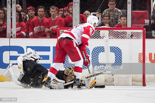 Frans Nielsen of the Detroit Red Wings scores a game winning shootout goal on Tuukka Rask of the Boston Bruins during an NHL game at Joe Louis Arena...