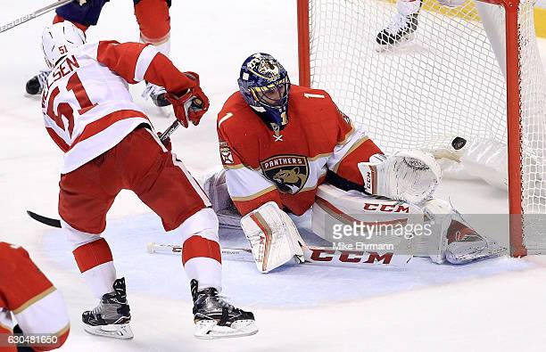 Frans Nielsen of the Detroit Red Wings scores a goal on Roberto Luongo of the Florida Panthers during a game at BBT Center on December 23 2016 in...