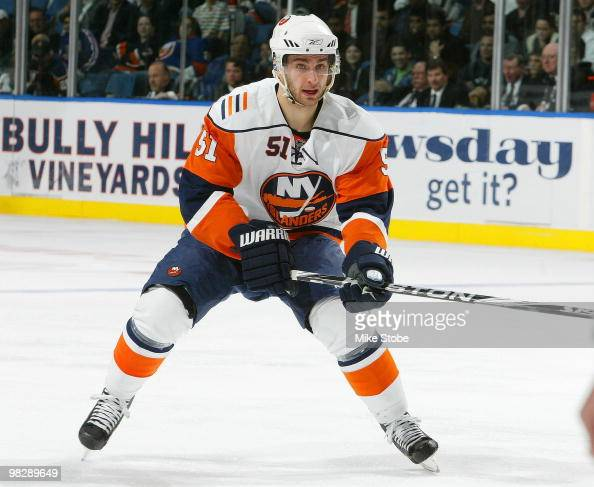 Frans Nielsen of the New York Islanders skates against the Philadelphia Flyers on April 1 2010 at Nassau Coliseum in Uniondale New York Islanders...