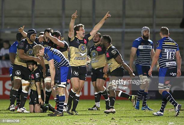 Frans Steyn of Montpellier celebrates victory with team mates during the European Rugby Challenge Cup Quarter Final match between Sale Sharks and...