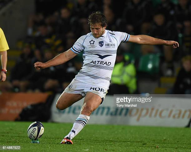 Frans Steyn of Montpellier takes a penalty kick during the European Rugby Champions Cup match between Northampton Saints and Montpellier at...