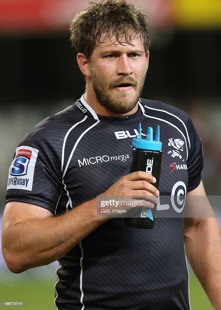 Frans Steyn of the Cell C Sharks during the Super Rugby match between Cell C Sharks and Highlanders at Growthpoint Kings Park on April 25, 2014 in Durban, South Africa.