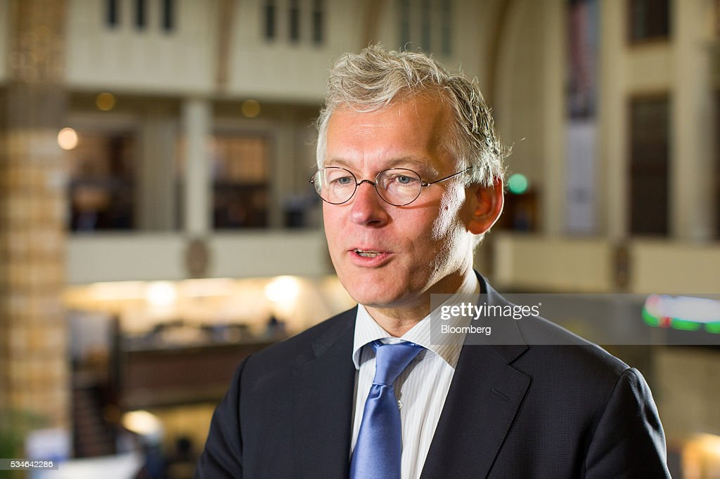 Frans van Houten, chief executive officer of Royal Philips NV, speaks during an interview after the Philips Lightning NV debut at Amsterdam Stock Exchange (AEX), operated by Euronext NV, in Amsterdam, Netherlands, on Friday, May 27, 2016. Philips Lighting NV shares jumped in their trading debut after Dutch parent company Royal Philips NV raised 750 million euros ($839 million) in an initial public offering of the worlds biggest general luminaries business. Photographer: Jasper Juinen/Bloomberg via Getty Images