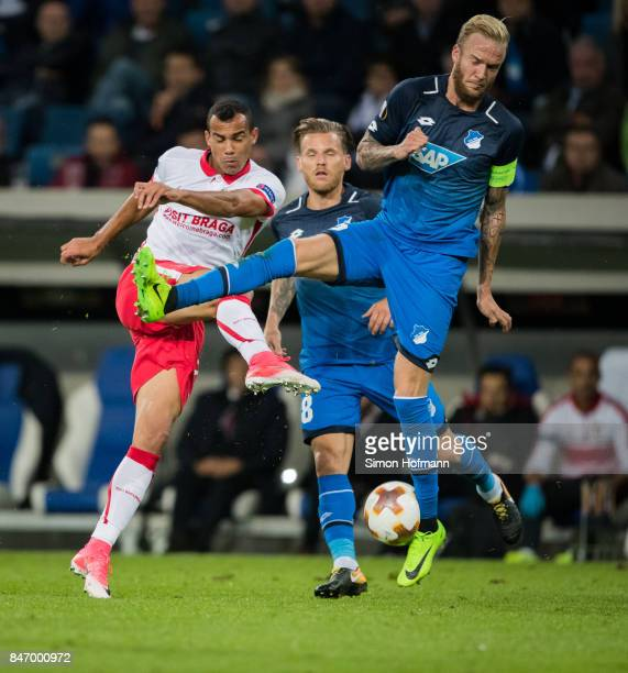 Fransergio of Braga tries to score against Kevin Vogt of Hoffenheim during the UEFA Europa League Group C match between 1899 Hoffenheim and Sporting...
