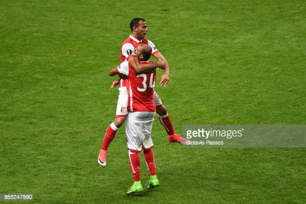 Fransergio of Sporting Braga celebrates after scores the second goal during the UEFA Europa League group C match between Sporting Braga and Istanbul...