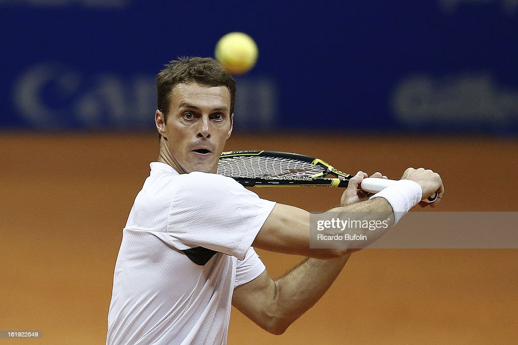 Frantisek Cermak from Czech Republic in action during the double final match against Alexander Peya from Austria and Bruno Soares from Brasil as part of the ATP Brazil Open on February 17, 2013, at Ibirapuera Gymnasium in Sao Paulo, Brazil.