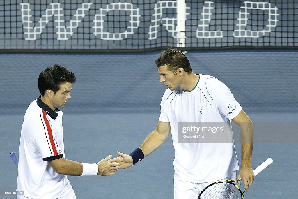 Frantisek Cermak (R) of the Czech Republic and Daniele Bracciali of Italy celebrate a point in their first round doubles match against Yuichi Sugita and Yasutaka Uchiyama of Japan during day two of the Rakuten Open at Ariake Colosseum on October 2, 2012 in Tokyo, Japan.