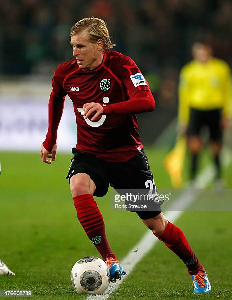 Frantisek Rajtoral of Hannover 96 runs with the ball during the Bundesliga match between Hannover 96 and FC Bayern Muenchen at HDIArena on February...