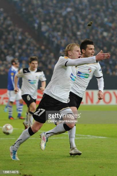 Frantisek Rajtoral of Plzen celebrates with teammate Michal Duris after scoring his team's equalizing goal during the UEFA Europa League Round of 32...