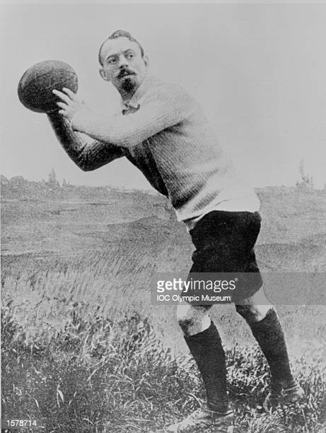Frantz Reichal a member of the French Rugby team prepares for a throw in at a lineout during the 1900 Games in Paris Rugby Football has been included...