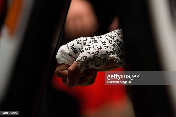 Frantz Slioa gets his hands wrapped before facing Ryan Hall during the filming of The Ultimate Fighter Team McGregor vs Team Faber at the UFC TUF Gym...