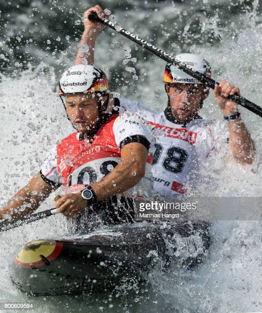 Franz Anton and Jan Benzien of Germany compete during the Canoe Double Men's Semifinal of the ICF Canoe Slalom World Cup on June 24 2017 in Augsburg...
