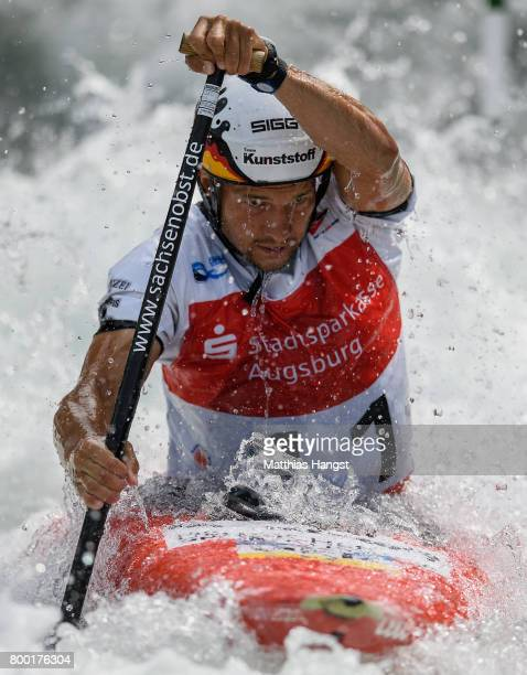 Franz Anton of Germany competes during the Canoe Single Men's Qualification of the ICF Canoe Slalom World Cup on June 23 2017 in Augsburg Germany