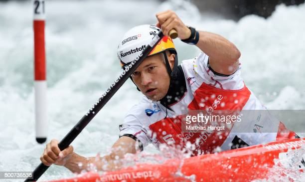 Franz Anton of germany competes during the Canoe Single Men's Semifinal of the ICF Canoe Slalom World Cup on June 25 2017 in Augsburg Germany