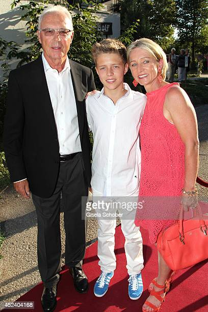 Franz Beckenbauer and his wife Heidi and son Joel Maximilian attend the Kaiser Cup 2014 Gala on July 19 2014 in Bad Griesbach near Passau Germany