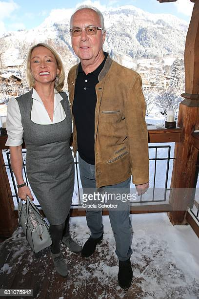 Franz Beckenbauer and his wife Heidi Beckenbauer during the NeujahrsKarpfenessen at Hotel Kitzhof on January 6 2017 in Kitzbuehel Austria