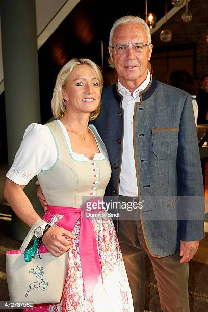 Franz Beckenbauer and his wife Heidi Burmester during the Kempinski Hotel Berchtesgaden opening party on May 8 2015 in Berchtesgaden Germany