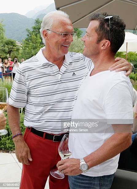Franz Beckenbauer and Lothar Matthaeus attend the first evening of the FIFA World Champions of 1990 meeting at Hotel Seeleiten on July 7 2015 in...