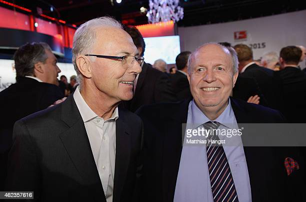 Franz Beckenbauer and Reiner Calmund pose during the DFL New Year's Reception 'Anstoss 2015' at Thurn und Taxis Palais on January 27 2015 in...