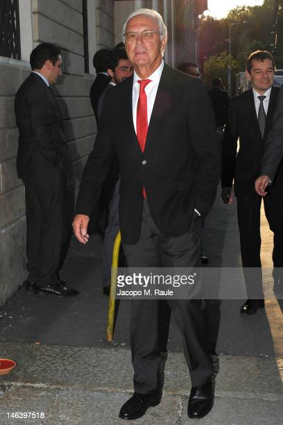 Franz Beckenbauer arrives at Rupert Murdoch Host Sky Gala Dinner at PAC on June 12 2012 in Milan Italy