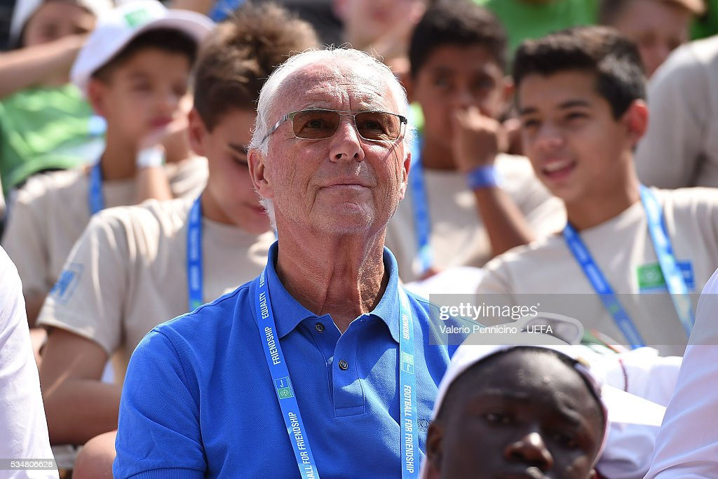 Franz Beckenbauer attends during the Gazprom-Football for Friendship prior to the UEFA Champions League Final at Stadio Giuseppe Meazza on May 28, 2016 in Milan, Italy.
