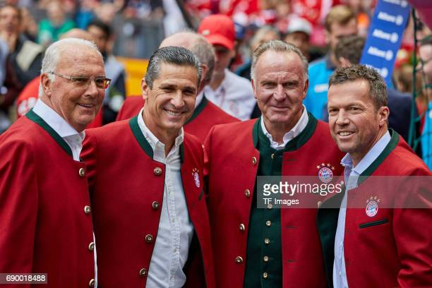 Franz Beckenbauer Jorginio KarlHeinz Rummenigge of Bayern Muenchen and Lothar Matthaeus looks on during the Bundesliga match between Bayern Muenchen...