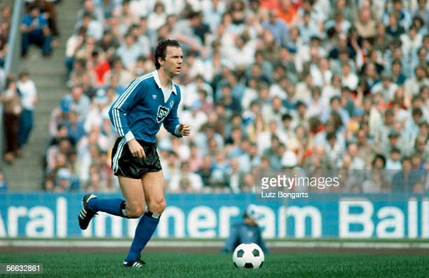 Franz Beckenbauer of Hamburg in action during the Bundesliga match between Hamburger SV and Karlsruher SC at the Volksparkstadium on May 29 1982 in...