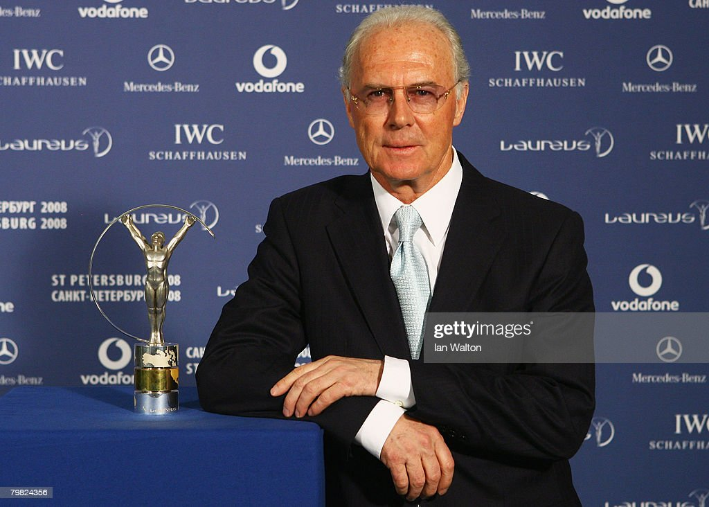 <a gi-track='captionPersonalityLinkClicked' href=/galleries/search?phrase=Franz+Beckenbauer&family=editorial&specificpeople=210545 ng-click='$event.stopPropagation()'>Franz Beckenbauer</a> poses with a Laureus trophy at the Laureus World Sports Awards at the Mariinsky Concert Hall on February 18, 2008 in St.Petersburg, Russia.