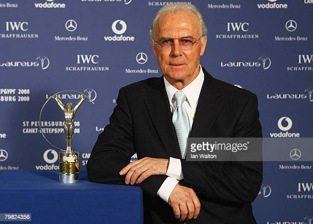 Franz Beckenbauer poses with a Laureus trophy at the Laureus World Sports Awards at the Mariinsky Concert Hall on February 18 2008 in StPetersburg...