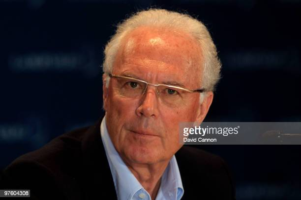Franz Beckenbauer speaks to the media prior to the Laureus World Sports Awards 2010 at Emirates Palace Hotel on March 10 2010 in Abu Dhabi United...