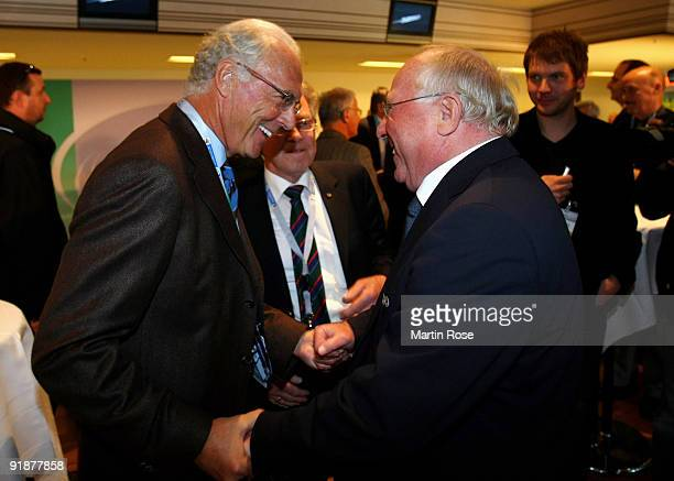 Franz Beckenbauer talks to Uwe Seeler during the meeting of former DFB National Players prior to the FIFA 2010 World Cup Group 4 Qualifier match...