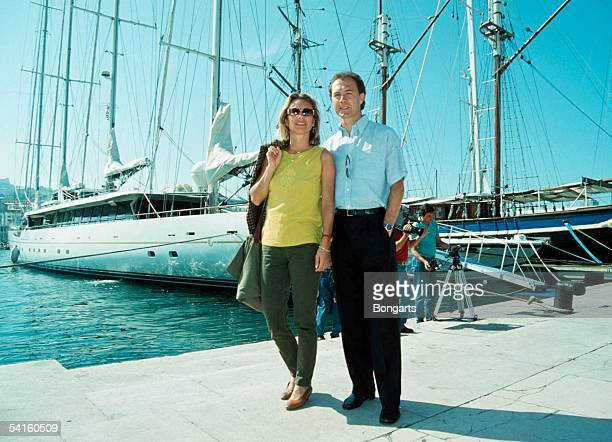 Franz Beckenbauer Technical Director of Olympique Marseille and his partner Sybille Beckenbauer are seen at the Harbor of Marseille on May 15 1990 in...
