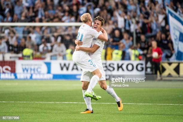 Franz Brorsson and Mattias Svanberg of Malmo FF celebrates after the victory during the Allsvenskan match between Djurgardens IF and Malmo FF at...