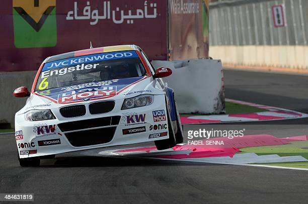 Franz Engister in his Bmw E90 competes during the Marrakech WTCC Fia World Touring Car championship race on April 13 in Marrakesh AFP PHOTO / FADEL...