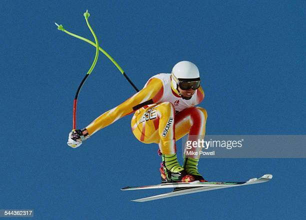Franz Heinzer of Switzerland during the Men's Downhill at the XVI Olympic Winter Games on 8 February 1992 in Les Menuires Albertville France