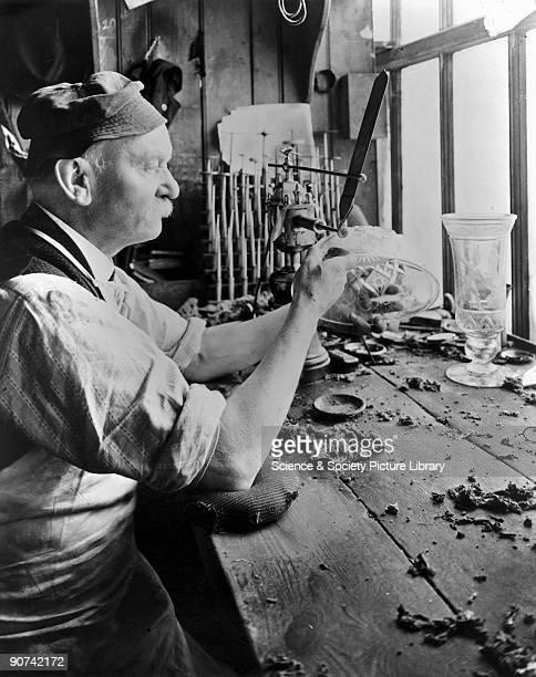 Franz Josef Palme a Bohemian wheel engraver who joined Thomas Webb Co in 1882 using a traditional brass treadle lathe