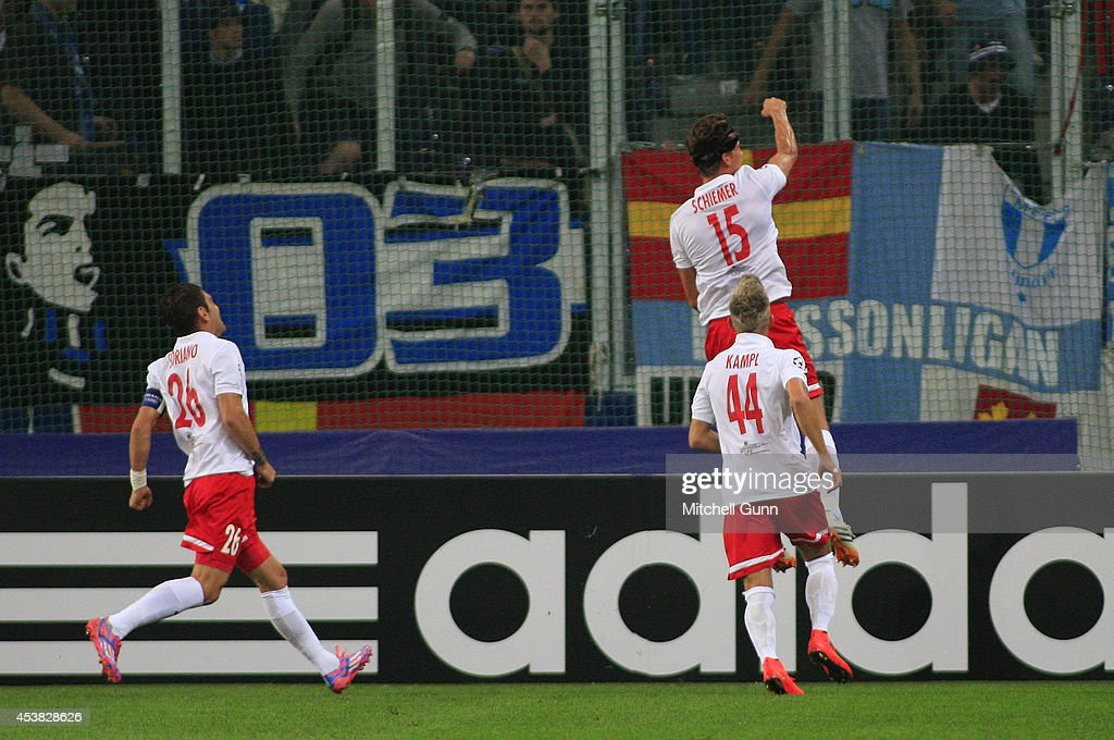 Franz Schiemer of FC Salzburg celebrates scoring a goal during the UEFA Champions League qualifying play-off at the Red Bull Arena , on August 19, 2014 in Salzburg, Austria.