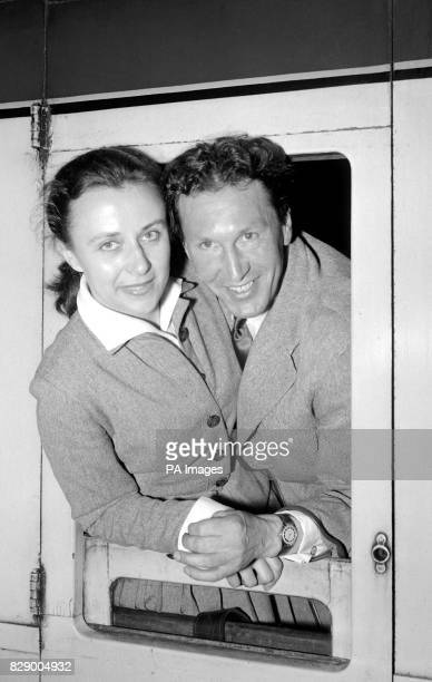 Franz Stampfl the man who has coached many of Britain's star athletes leaving St Pancras Station London on his way to Australia With his wife Patsy...