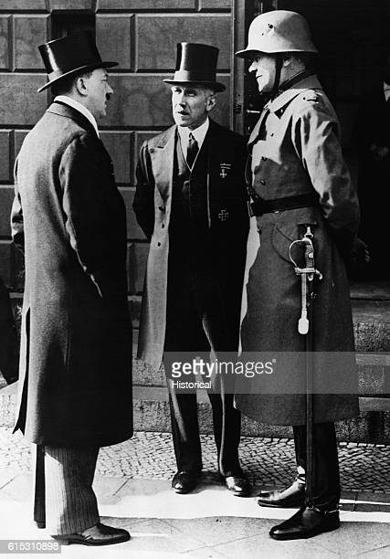 Franz von Papen German politician with Adolf Hitler and von Blomberg on a day of general mourning for German soldiers killed in World War I