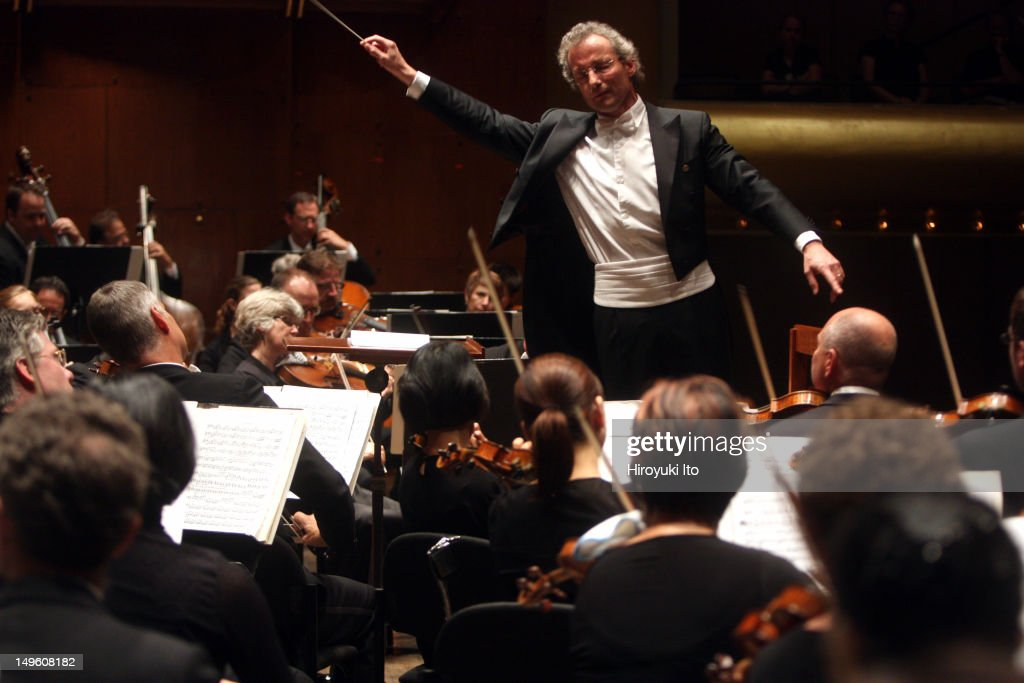 Franz Welser-Most leading the Cleveland Orchestra in Bruckner's 'Symphony No. 7 in E major' at Avery Fisher Hall on Thursday night, July 14, 2011.The performance was part of Lincoln Center Festival.