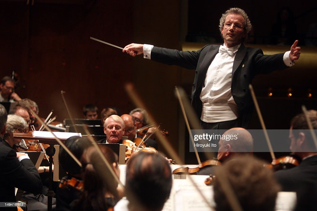 Franz Welser-Most leading the Cleveland Orchestra in Bruckner's Symphony No. 9 in D minor' at Avery Fisher Hall on Sunday afternoon, July 17, 2011.The performance was part of Lincoln Center Festival.